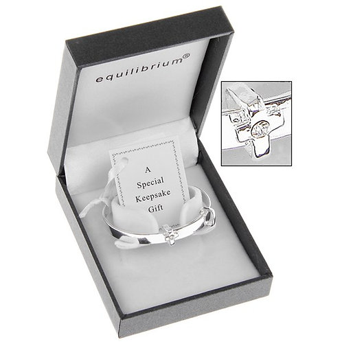 Equilibrium Silver Plated Cross Christening Bangle