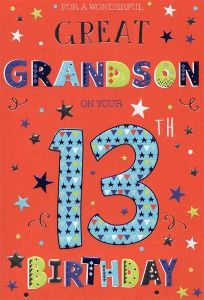 Great Grandson 13th Birthday card