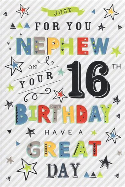 Nephew 16th Birthday Card