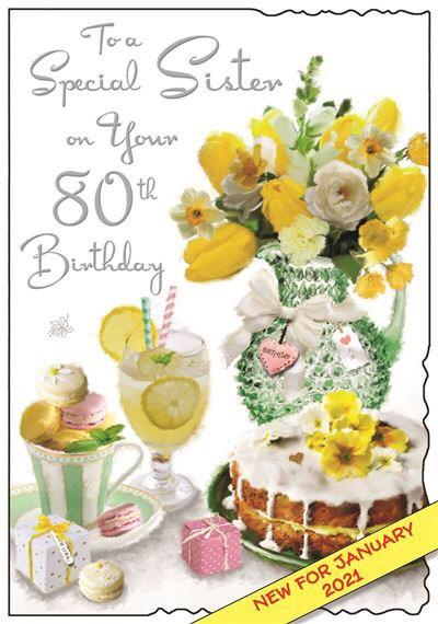 Sister 80th Birthday Card