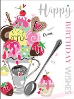 Female Birthday Card Brightly Decorated With Foil Designs Ice-cream FREE P/P