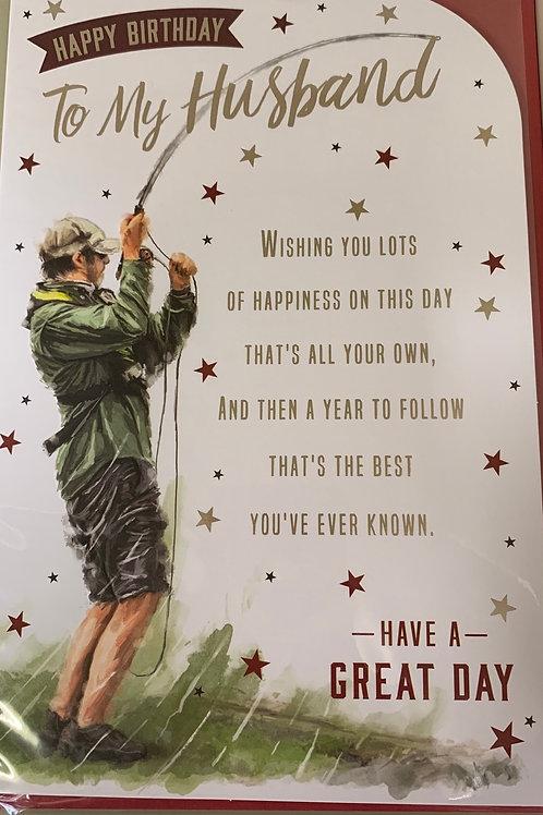 Fishing Card Happy Birthday To My Husband FREE POSTAGE