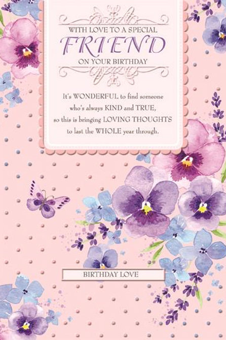 With love to a special friend birthday card