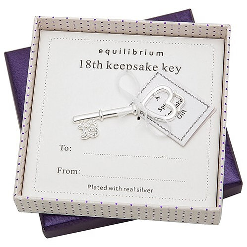 Equilibrium Silver Plated Keepsake Key 18th Boxed