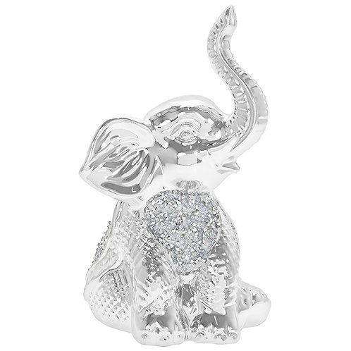Silver Sparkle Small Sitting Elephant