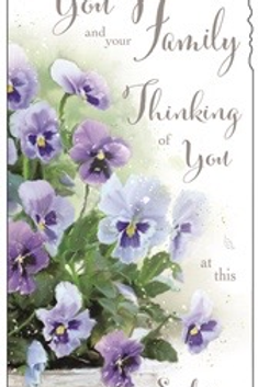 """Sympathy Card """"To you and your family Thinking of you at this sad time"""