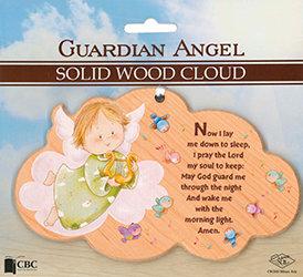 Guardian Angel Solid Wood Cloud Plaque