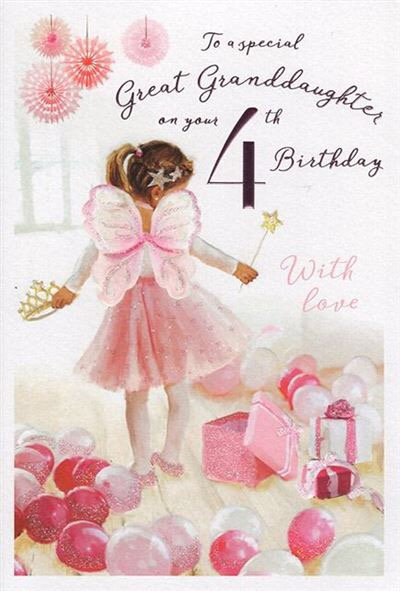 To a special Great granddaughter on your 4th birthday