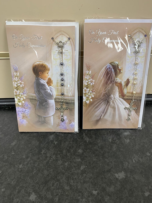 First Holy Communion Cards With Rosary Beads Boy & Girl