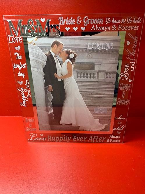 """Mr & Mrs"" Glass Wedding Frame Beautiful Item"