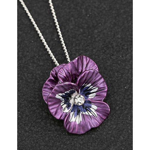 Equilibrium Violet Pansy Plated Silver Necklace