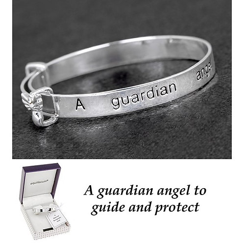 Guardian Angel Keepsake Bangle Silver Plated By Equilibrium BOXED