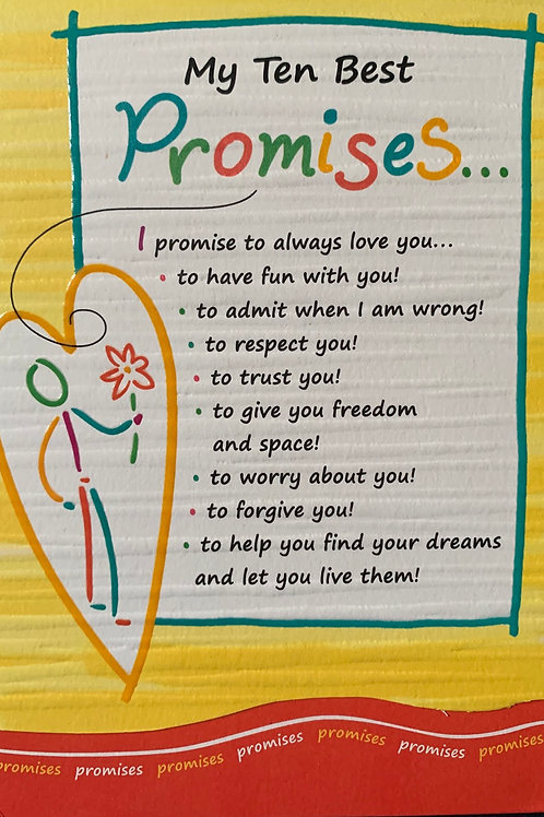 Blue Mountain Cards MY TEN BEST PROMISES Beautiful Wording
