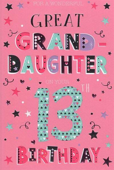 Great Granddaughter 13th Birthday Card