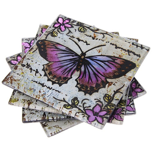 Glass Lavender Colour Butterfly Coasters Set of 4