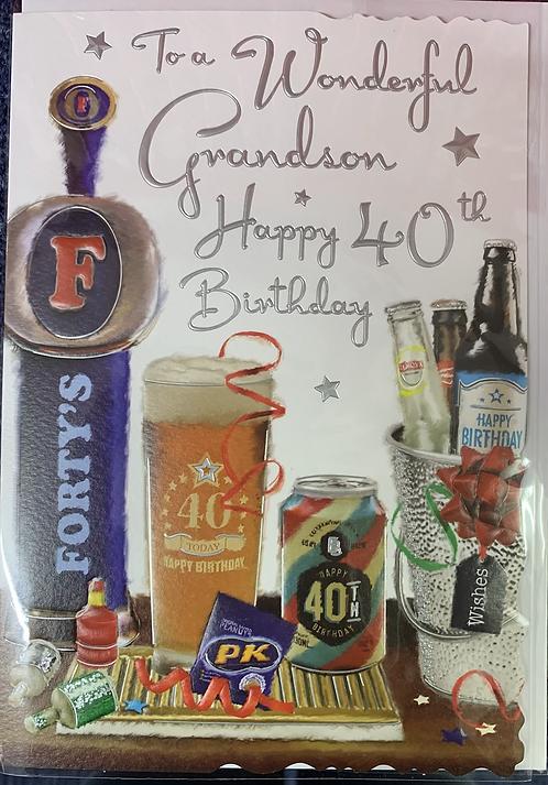 Grandson 40th Birthday Card