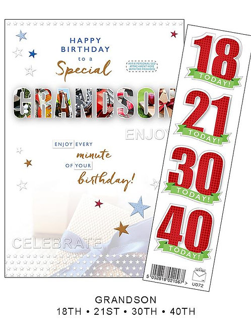 Personalised  Special Grandson Birthday Card