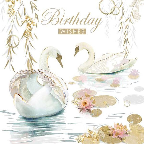 Female Birthday Card Depicting pictures of 2 Swans
