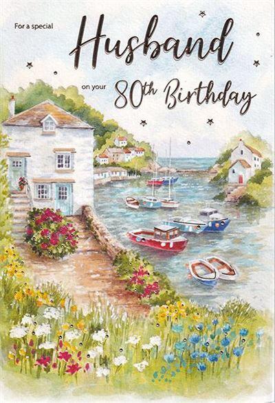 Husband 80th Birthday card