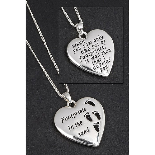 Equilibrium Silver Plated Footprints Locket Boxed