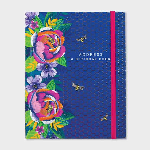 Address Book Navy/Floral & Bees