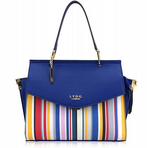 LYDC Handbag / Shoulder Bag Blue Background with Multi-Coloured Stripes