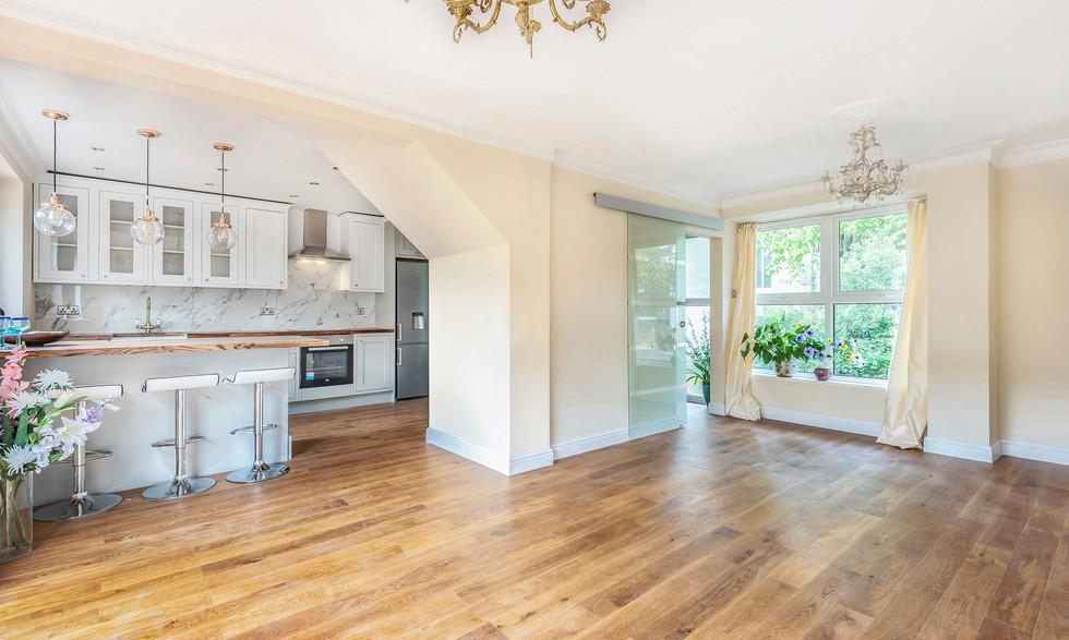 View into kitchen