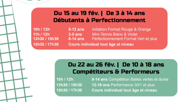 Stages d'hiver