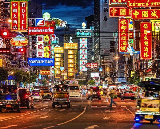 China Town de Noche en Bangkok