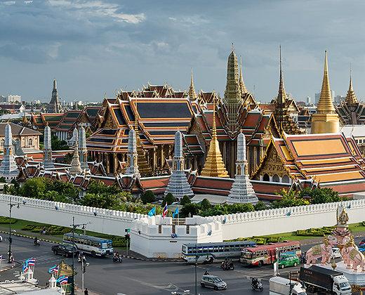 La zona de templos en Bangkok es muy bonita