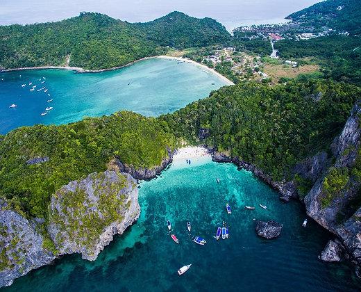Paisaje aéreo de las Islas de Trang