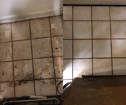 Before & After Behind Fridge