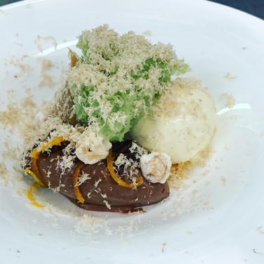 Pistachio, chocolate, orange vanilla