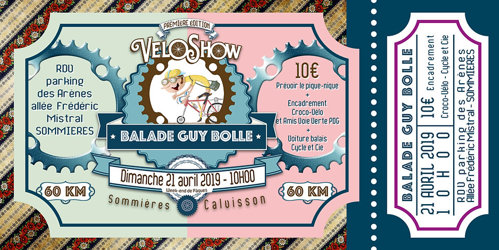 Billet Guy Bolle 21/04/2019 Veloshow 2019 Graphisme Marc Laurent
