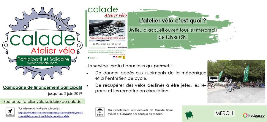 Calade atelier Vélo participatif et solidaire jusqu'au 2 juin 2019. Soutenez l'atelier vélo solidaire de Calade sur https://www.helloasso.com/associations/calade/collectes/atelier-velo-solidaire-et-participatif-de-l-association-calade où directement aux accueils de Calade Sommières et Calvisson.