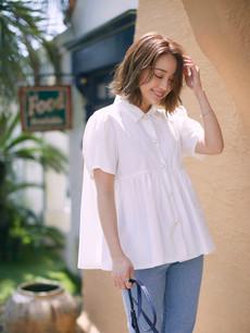 パールボタン半袖シャツ ホワイト