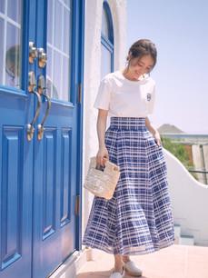 立体チェックフレアスカート ブルー