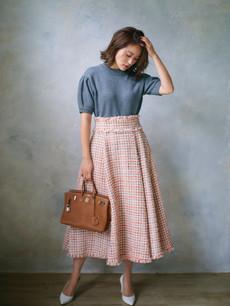 ツイードフレアスカート オレンジ