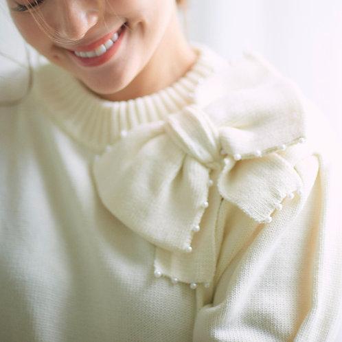 パールリボン付き半袖ニットオフホワイト