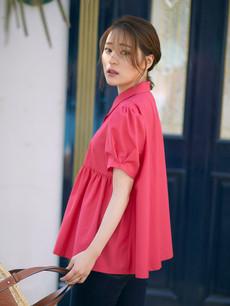 パールボタン半袖シャツ ピンク