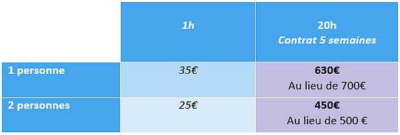 grille tarif soutien scolaire