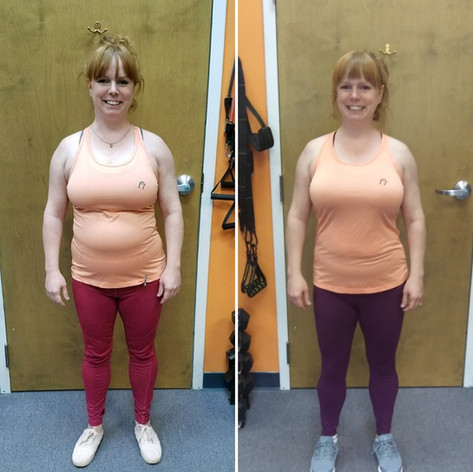 Colleen trained with me twice a week for 90 days.  She lost 7.2 pounds, 2.7% body fat, 1.4% BMI and a total of 7.75 inches!! Yes, in just 3 months. She was always so happy to come work out and will be transitioning to classes soon.