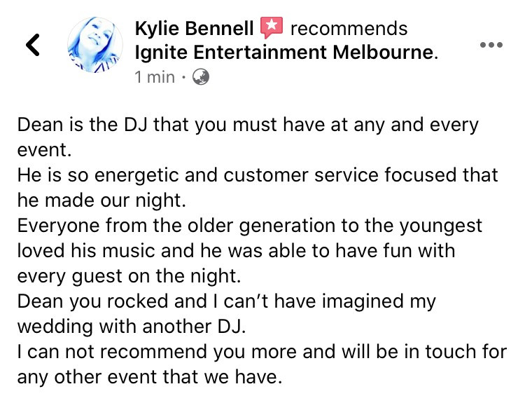 Wedding DJ Review Melbourne