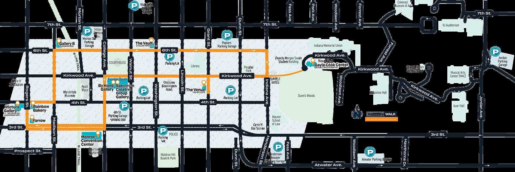 Gallery Walk Bloomington map