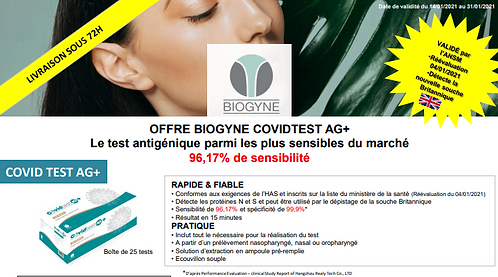 Test Biogyne par boite de 25 tests / TVA 0%