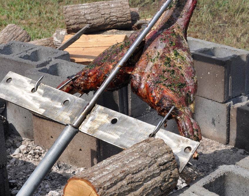 asado-roasted deer almost ready to eat