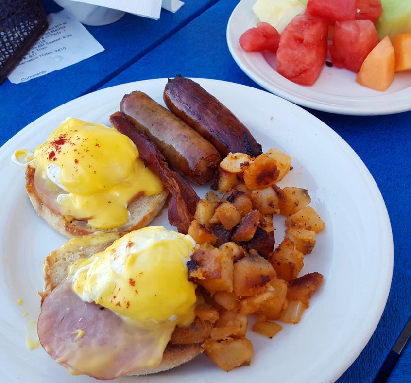 Island Hopper - Pink Shell resort Eggs Benedict