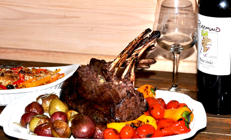 Rack of Venison with roasted peppers and potatoes