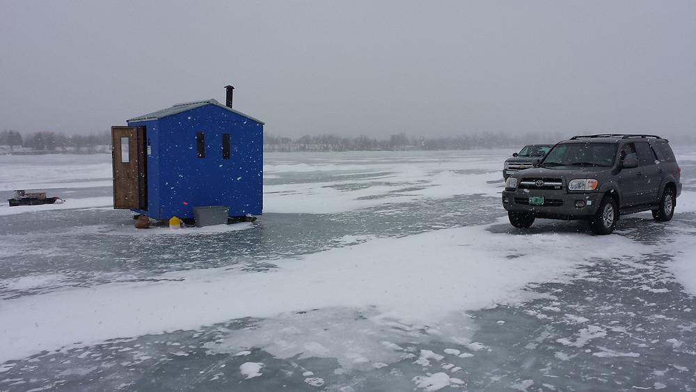 Ice fishing Lake Champlain yellow perch