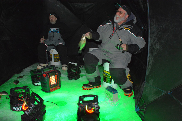 Vermont ice fishing Lake Champlain vexilar